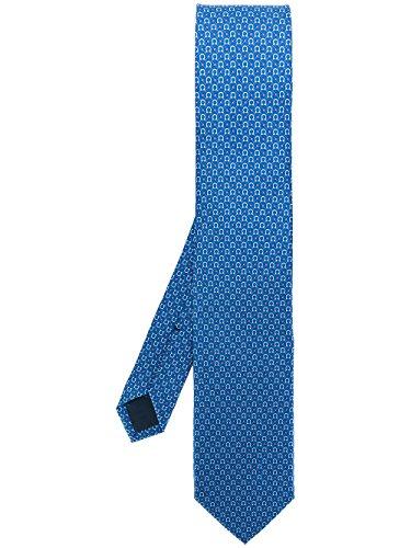 (Salvatore Ferragamo Men's Blue Gancini Neck Tie )