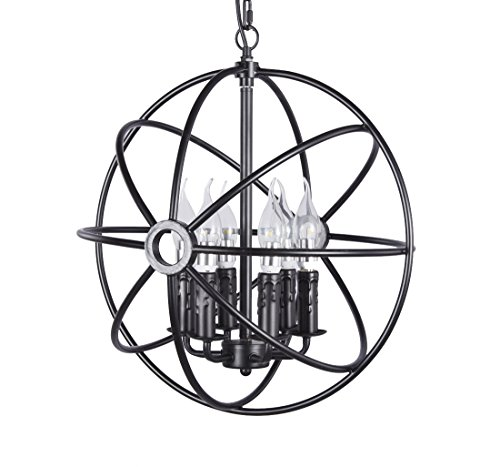 New Galaxy Lighting 6-Light Sphere Interlocking Rings Antique Black Finish Pendant Chandelier Hanging Ceiling Lamp Fixture