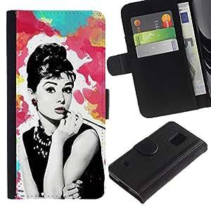 Billetera de Cuero Caso Titular de la tarjeta Carcasa Funda para Samsung Galaxy S5 V SM-G900 / Star Vintage Retro Movies 60'S Cinema / STRONG