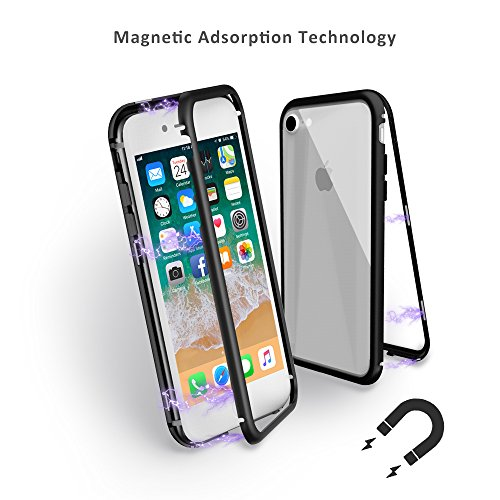 Mangotek iPhone 8/7 Case, Magnetic Absorption Technology, Ultra Slim Thin Metal Frame Cover, Full Protective Aluminum Alloy Tempered Glass Case with Built-in Magnet Flip Support Wireless Charging