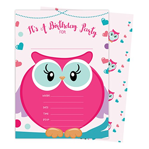Owl Style 2 Happy Birthday Invitations Invite Cards (25 Count) with Envelopes and Seal Stickers Boys Girls Kids Party (25ct) -