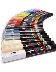 أقلام تحديد فنية للطلاء Uni Posca PC-1M - قلم معدني زجاجي - مجموعة كاملة من 21 لونًا