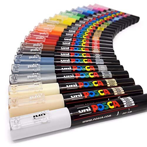 Ivory Silver Pens - Uni Posca PC-1M Paint Art Marker Pens - Fabric Glass Metal Pen - Full Range Set of All 21 Colours