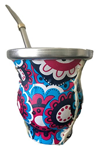 Leather Covered Rim - Traditional Yerba Mate Gourd Set:Simile Leather Wooden Mate Gourd Cup + Bombilla Straw(H2)