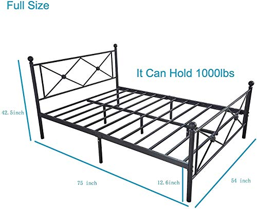 Queen Bed Frame, Platform Metal Bed Frame Foundation Queen Size with Headboard and Footboard 7