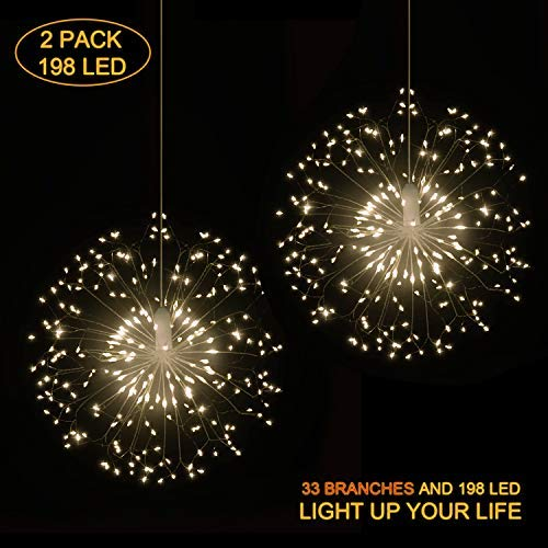 Hensun String, 8 Modes Dimmable with Remote Control, Battery Operated Hanging Starburst 198 LED IP44 Waterproof, Decorative Wire Lights for Parties, Warm White-2 Pack [並行輸入品] B07R7L1YFM