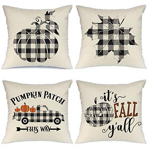 AENEY Fall Pillow Covers 18x18 inch Set of 4 Buffalo Check Plaid Pumpkin Throw Pillows for Fall Thanksgiving Decor Farmhouse Fall Decorations Decorative Pillows (Cushions Fall Outdoor)