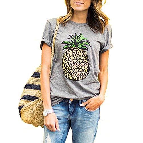 Weigou Women T Shirt Summer Pineapple Printed Short Sleeve Tops Funny T Shirt Junior Top Tees
