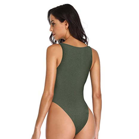 6330393484961 Dixperfect Women's Cut Out Tie Front One Piece Bathing Suit High Wasited  Swimwear at Amazon Women's Clothing store: