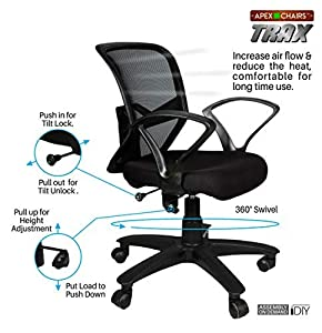 APEX CHAIRS TRAX Plastic Base Medium Back Chair (Black)