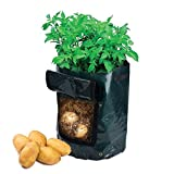 PES 2-Pack 10 Gallon Plastic Grow Bags Potato Bags for Growing Potatoes Vegetables Garden Potato Grow Bag Vegetables Planter Bags with Handles and Access Flap for Potato, Carrot & Onion