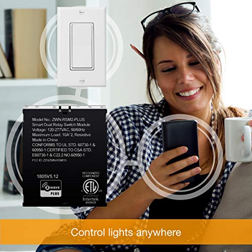ENERWAVE Z-Wave Plus Dual Relay Switch Module, Z-Wave Relay, Hidden Smart Switch, In-Wall Micro Switch, NEUTRAL WIRE REQUIRED, ZWN-RSM2-PLUS, Black, 2-Pack (New Version) by ENERWAVE (Image #4)