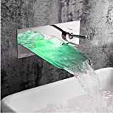 LightInTheBox Wall Mounted Single Handle Two Holes in Chrome Bathroom Sink Faucet LED Water Flow Color Changing Temp