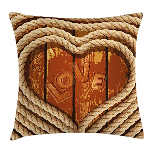 Ambesonne Western Throw Pillow Cushion Cover, Heart Figure with Coiled Rope on Wooden Planks Love Inscription Romance Theme, Decorative Square Accent Pillow Case, 18 X 18 Inches, Cream Caramel