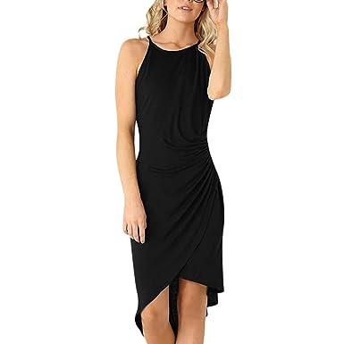3589d335c560b4 WANQUIY Womens Summer Dresses Women's Casual Round Neck Sleeveless Comfort  Beach Long Maxi Dress Black