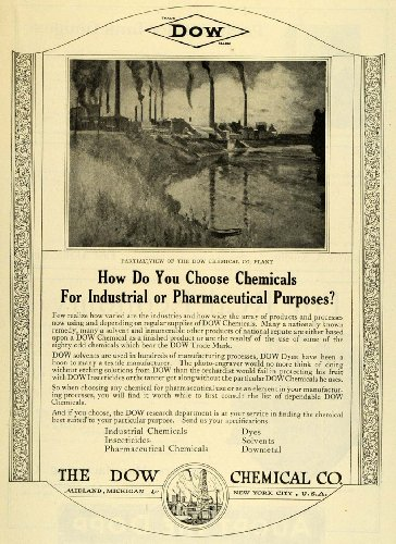 1922-ad-chemicals-industrial-pharmaceutical-solvents-dyes-insecticides-dowmetal-original-print-ad
