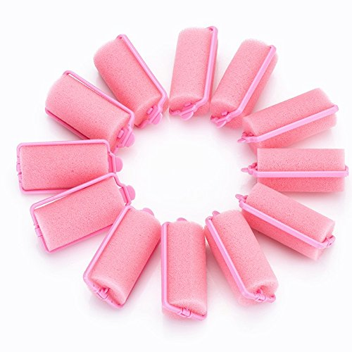12 Pcs Soft Sponge Hair Curler Rollers Twist Tool, Magic Girl Ladies Hair Care Roller Fashion Salon Hair Style Foam Sponge Curlers Pink by DAXUN