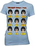 Bob's Burgers The Many Moods of Tina T-shirt (Medium, Heather Light Blue)