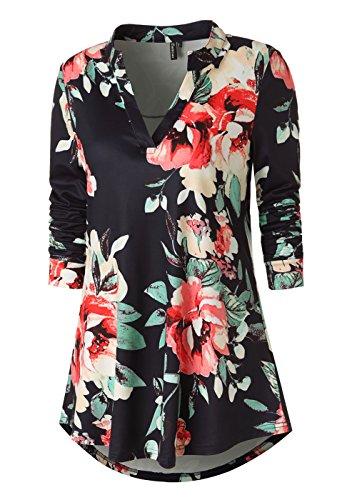 Zattcas Womens Tunic Tops Long Sleeve Floral Print V Neck High Low Blouse Shirt (Medium, (Floral Blouse Shirt Top)