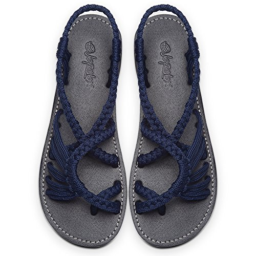 - Everelax Women's Flat Sandals Blue 8B(M) US