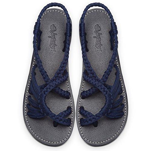 Navy Blue Sandals - Everelax Women's Flat Sandals Blue 8B(M) US