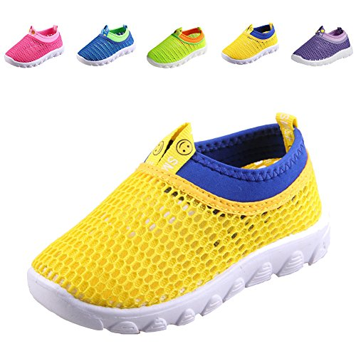 CIOR Kids Casual Shoes Breathable Slip-on Sneakers For Walking Running Toddler / Little Kid / Big Kid,1106yellow,22 (Sneakers Summer)