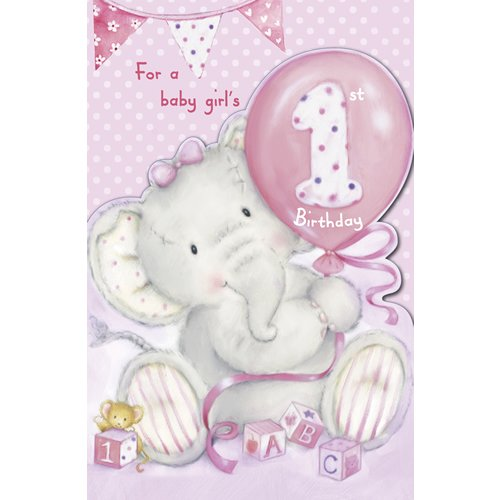 Amazon Com Elliot And Buttons Baby Girl S 1st Birthday Die Cut Card