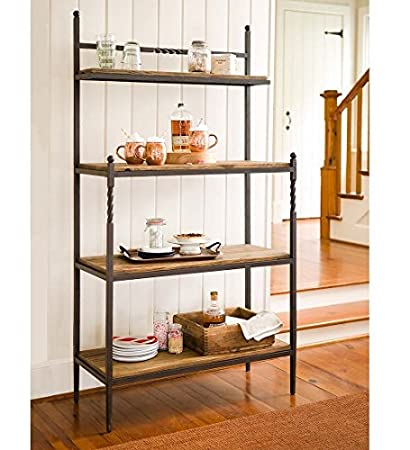 Etonnant Deep Creek Collection Bakeru0027s Rack With Oak Wood Shelves And Iron Metal  Frame For Kitchen Storage