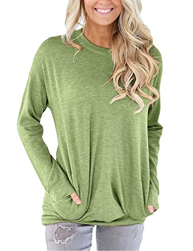 MML Women's Long Sleeve Round Neck Sweatshirt Loose T Shirt Blouses Tops Green L