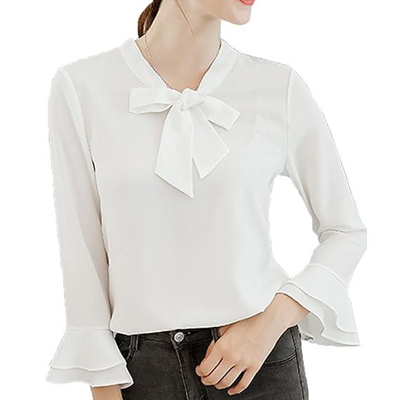 Anyu Camisas Mujer Manga 3/4 Señoras Estilo Clásico Blusas Blanco S