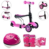 Y Glider 3-in-1 Kids Scooter With Hello Kitty Pedal-And-Go Protective Pad/Gloves & Helmet, Pink, Bell Sports, Kids Scooters & Gears, Outdoor, Balance & Coordination, Kids Adventure, For Ages 3-5