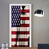 Gzhihine custom made 3d door stickers Sports Decor Composite Double Exposure Image of A Soccer Player and American Flag National Usa Run Beige Blue and Red For Room Decor 30x79