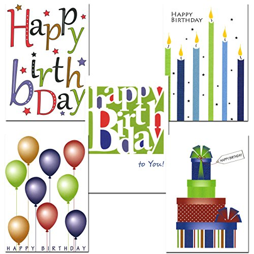 Birthday Cards Assortment - 6 Designs 30 Blank Note Cards & 32 Env Made in USA by CroninCards ()
