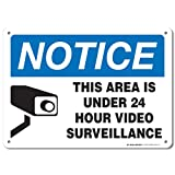 My Sign Center Notice This Area is Under 24 Hour Video Surveillance Laminated Warning Sign - Made in USA - 10
