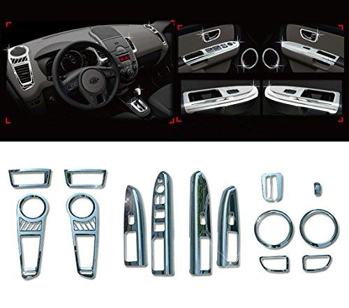 AutomotiveApple Chrome Interior Molding Garnish Kit 14p 1Set For 2008-2013 Kia Soul