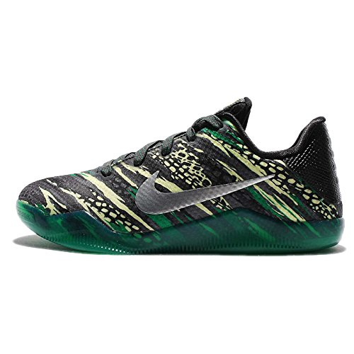 Nike Kids Kobe XI GS, ANTHRACITE/METALLIC SILVER-BLACK-LUCID GREEN, Youth Size 7 -  425427-10_M