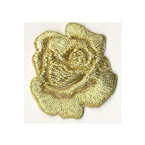 Ecusson Thermocollant Fleur Petite Rose Ajour/é Coloris Dor/é 3 x 3 cm