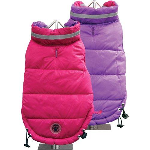 FouFou Dog Fou Ski Parka Dog Coat, Fuchsia/Purple, X-Large, My Pet Supplies