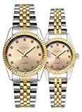 Swiss Brand Two Tone Watch Men Women Gold Silver Stainless Steel Waterproof Couple Watches Gift of 2 (Gold)
