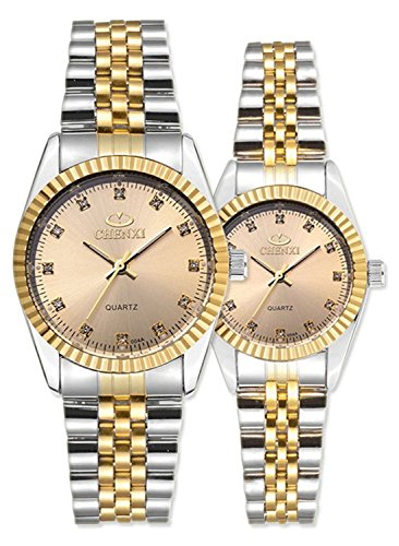 (Swiss Brand Two Tone Watch Men Women Gold Silver Stainless Steel Waterproof Couple Watches Gift of 2 (Gold))
