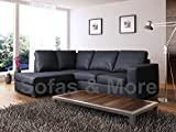 WESTPOINT VENICE BIG CORNER SOFA FAUX LEATHER BLACK LEFT HAND SIDE