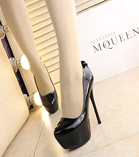 Black MDRW Waterproof Spring With Heels Drill Fine Pointed Leisure 35 Lady Elegant 14Cm Shoes Sexy Leather Work Hanging aPBCarxq