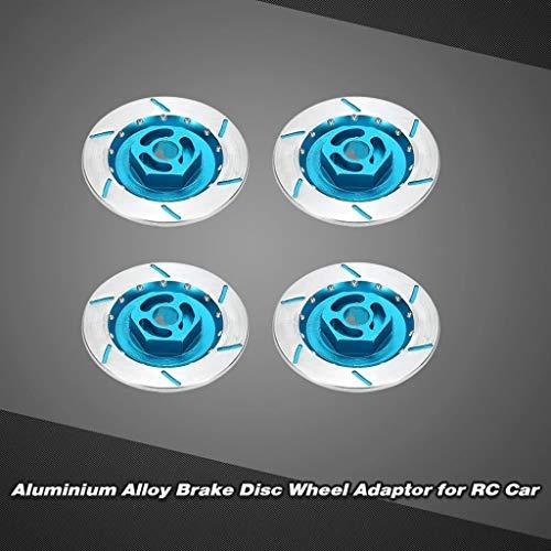 Hisoul for 1/10 Off-Road Monster Truck Brake Disc Wheel Adaptor - 12mm Adaptor Hex Aluminum Alloy Brake Disc Wheel Adaptor with Cross-drilled Rotors (4Pcs) (A)