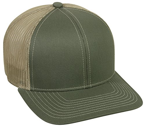 - Outdoor Cap Structured mesh Back Trucker Cap, Olive/Tan, One Size