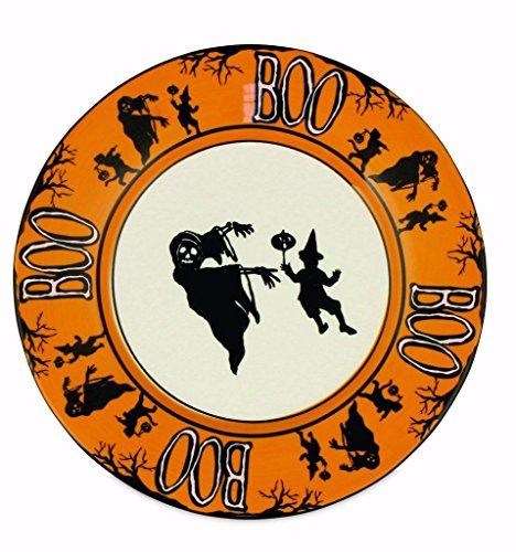 Bethany Lowe Halloween Party Ceramic Dessert Plate, Witch, Ghouls and Boo, 7