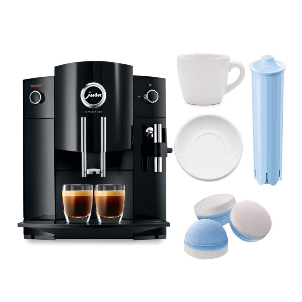 Jura Impressa C60 Automatic Coffee Machine with 3 oz ceramic espresso cup + Blue Water Cartridge + Jura 64308 Multi-pack 2 phase cleaning tablets Bundle (Certified Refurbished) by Jura
