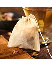 Amasar Tea Filter Bags Disposable Natural Unbleached Paper Infuser Sachets Drawstring Safe Strong Penetration Bags Loose Leaf Tea Coffee Wood Pulp Material Biodegradable and Compostable 100 pcs
