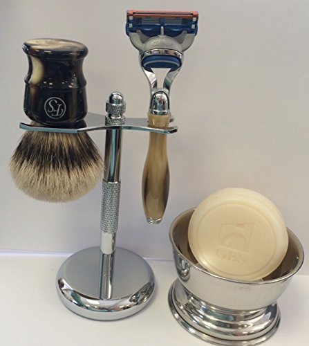 5 Piece Mens Shaving Gift Set - Fusion Razor + Silvertip Badger Brush + Bowl + Soap by Frank Shaving