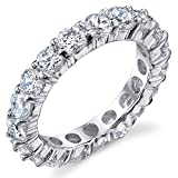 3.50MM Sterling Silver 925 Eternity Ring Engagement Wedding Band Ring with Cubic Zirconia CZ Size 4