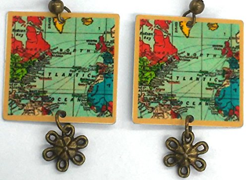 Map Earrings, Travel Earrings for Globe Trotter, Matching Map Bracelet Available, Travel Jewelry, Designed by Artist Antique Bronze